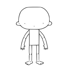 Ilustração simplificada do que é um boneco intermediário. O desenho tem um formato de lupa, mas agora a cabeça é separada do corpo,  Na cabeça o rosto é representado por apenas 3 pontos, sendo dois para os olhos e um mais abaixo para a boca.  O dorso é um retângulo na vertical do qual saem lateralmente dois braços arqueados com 4 dedos em cada um.  Logo abaixo estão as pernas e na sua base pés descalços com dedos à mostra.