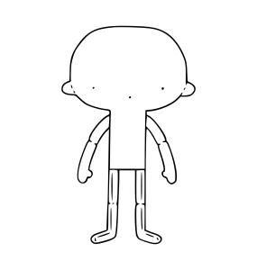 Ilustração simplificada do que é um boneco intermediário. O desenho tem um formato de lupa, cuja a parte maior é cabeça. O rosto é representado por apenas 3 pontos, sendo dois para os olhos e um mais abaixo para a boca.  Já a parte mais final é o corpo do boneco. De cada lado saem braços curvados cuja as mãos lembram luvas de pegar assadeira no forno.  Na parte de baixo duas pernas em formato de L se projetam.